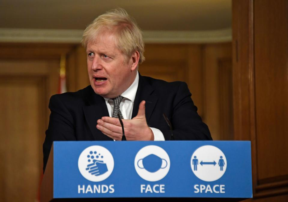 Britain's prime minister Boris Johnson speaks during a press conference at 10 Downing Street in London on 31 October. Photo: Alberto Pezzali/AFP