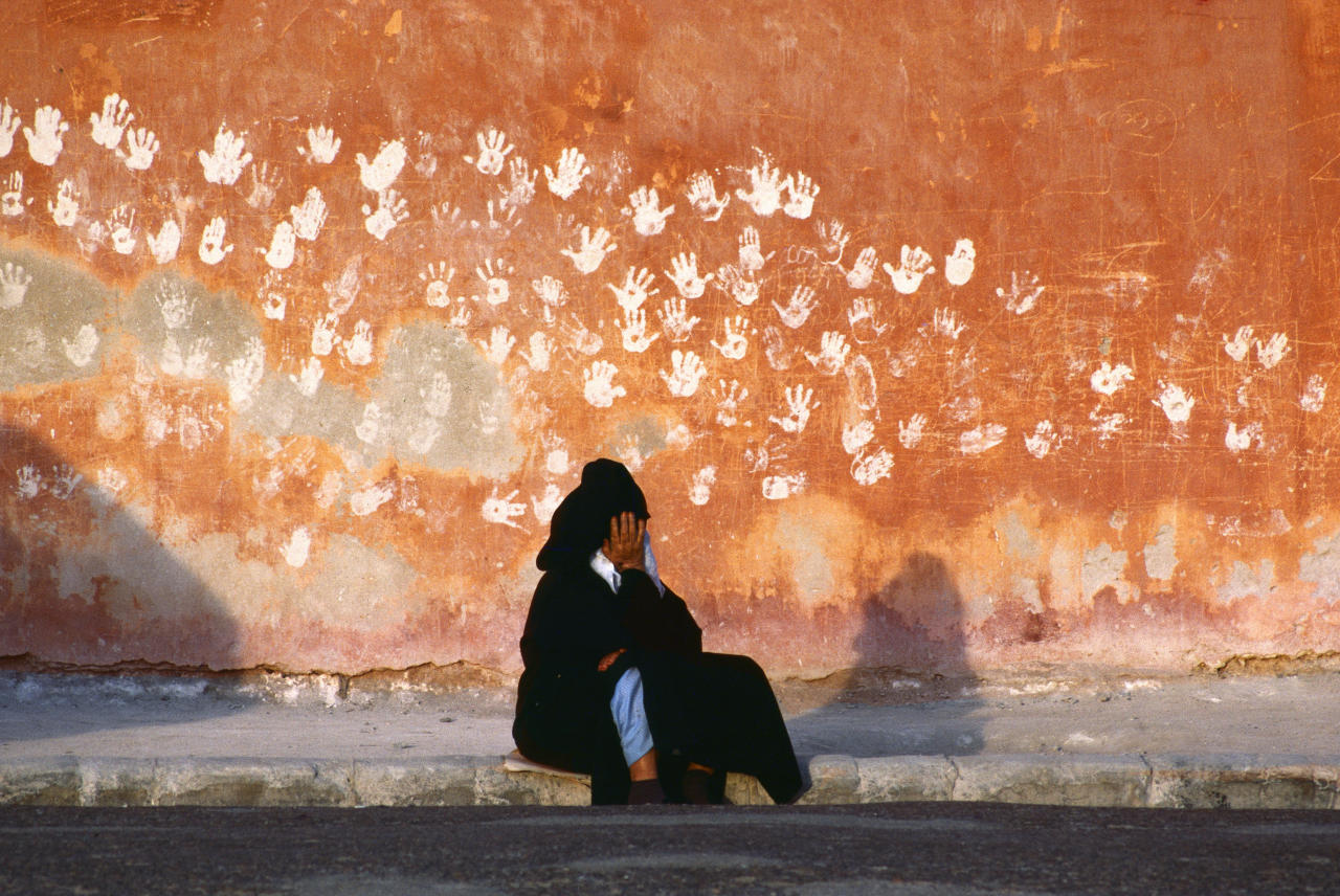 "<p>Hands, a symbol of good luck, on a wall in Essaouira, Morocco, 1985. ""Leaving their mark in every land they conquered, Muslim Arabs surged out of the Middle East into North Africa in the seventh century A.D., crossing the Strait of Gibraltar into the Iberian Peninsula. Known as Moors, they ruled in Spain for almost 800 years — until 1492, when they were ousted by their Catholic Majesties Ferdinand and Isabella. The Moors left behind a cultural legacy still evident in both Spain and Morocco, where palm prints decorate a wall in the harbor town of Essaouira."" —Thomas J. Abercrombie, ""When the Moors Ruled Spain,"" National Geographic, July 1988. (Photograph © Bruno Barbey/Magnum Photos) </p>"