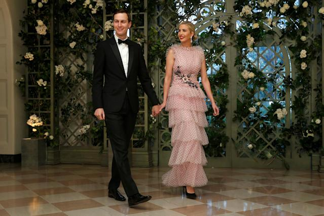 Jared Kushner and Ivanka Trump arrive for the state dinner in honor of French President Emmanuel Macron. (Photo: Joshua Roberts/Reuters)