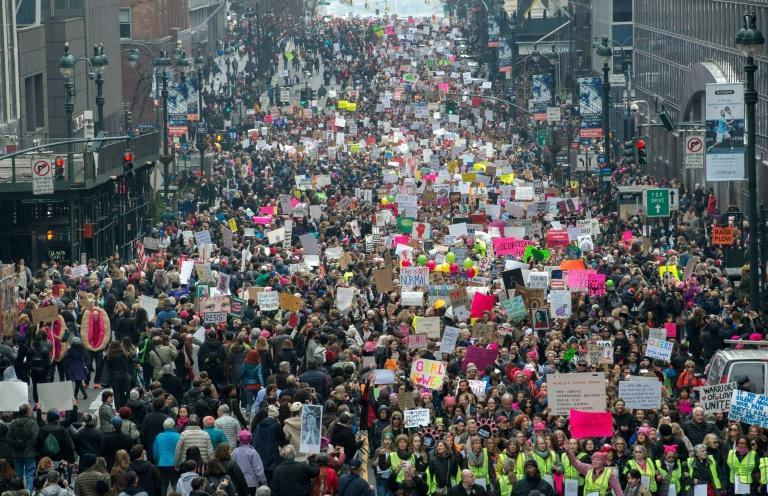 Hundreds of thousands flooded the streets of cities across the US in a massive outpouring of defiant opposition to President Donald Trump, including in New York