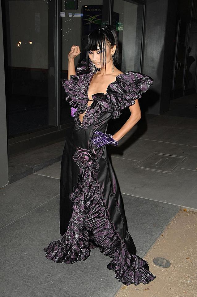 "Frequent fashion offender Bai Ling did not disappoint in this purple plaid gown. Steve Granitz/<a href=""http://www.wireimage.com"" target=""new"">WireImage.com</a> - November 23, 2008"