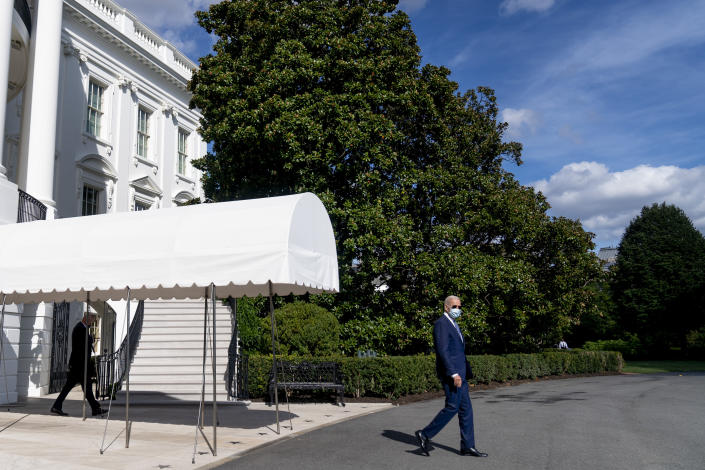President Joe Biden walks towards Marine One on the South Lawn of the White House in Washington, Monday, Sept. 20, 2021, for a short trip to Andrews Air Force Base, Md., and then on to New York ahead of a United Nations General Assembly meeting. (AP Photo/Andrew Harnik)