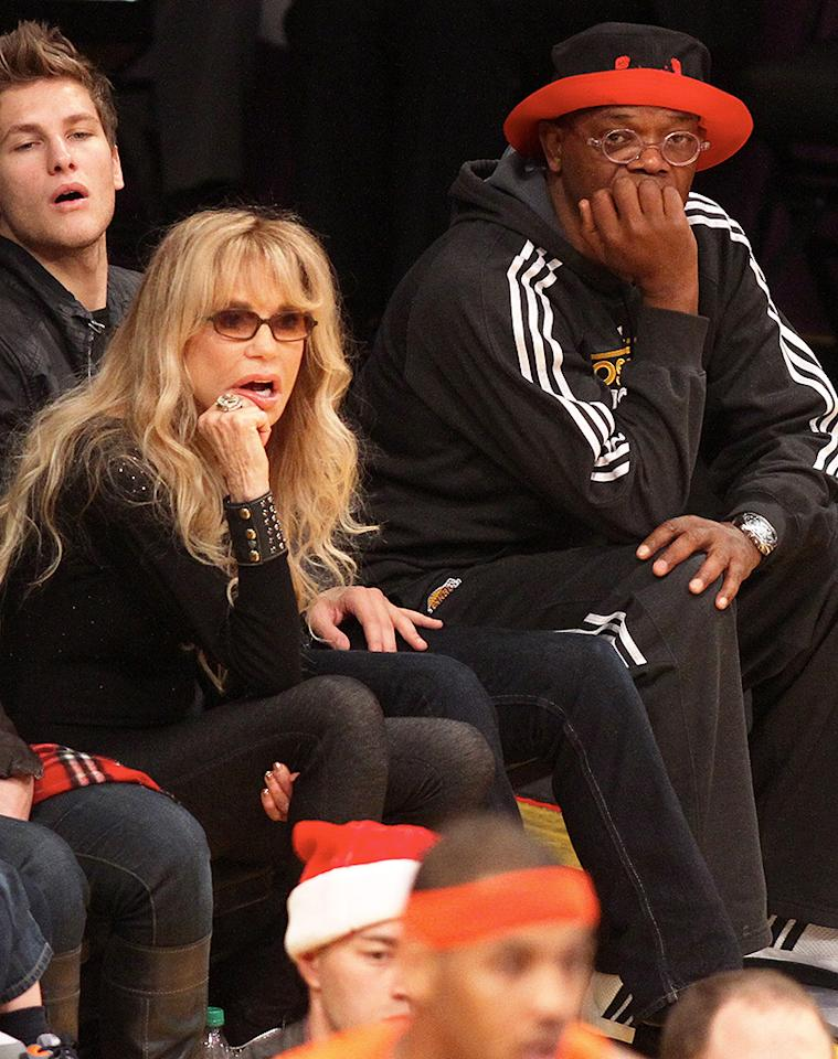 Samuel L Jackson attends the Los Angeles Lakers Vs The New York Knicks Basketball Game at the Staples Center in CA. Pictured: Dyan Cannon and Samuel L Jackson Ref: SPL475485  261212  Picture by: London Entertainment / Splash   Splash News and Pictures Los Angeles:310-821-2666 New York:212-619-2666 London:870-934-2666 photodesk@splashnews.com
