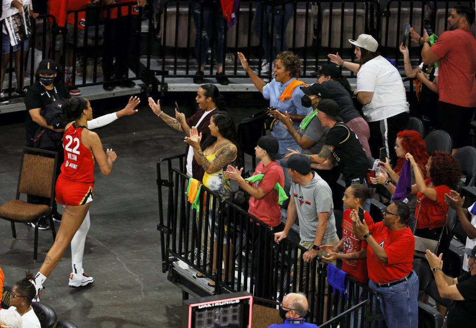 A'ja Wilson and fans.