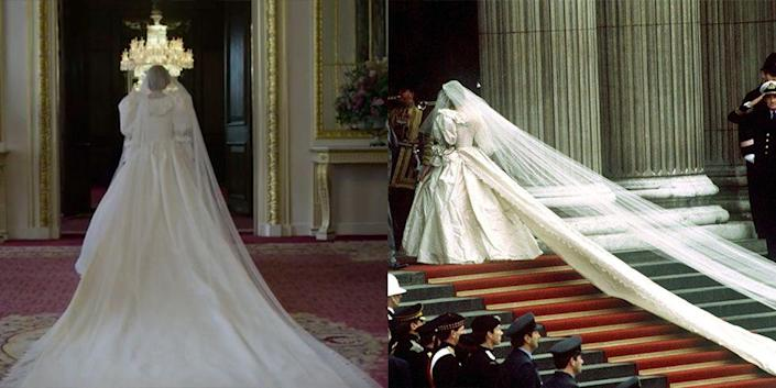 """<p>Princess Diana's iconic taffeta wedding dress with its 25-foot train and 153-yard tulle veil were recreated for season 4. The costume designers kept it as similar to the original as possible. """"The Emanuels, who designed the original, gave us the patterns, and then it was made for me,"""" actress Emma Corrin, who plays Princess Diana<em>, </em>told <a href=""""https://www.vogue.co.uk/arts-and-lifestyle/article/emma-corrin-interview"""" rel=""""nofollow noopener"""" target=""""_blank"""" data-ylk=""""slk:British Vogue"""" class=""""link rapid-noclick-resp"""">British Vogue</a>. </p>"""