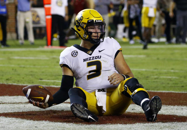 Missouri quarterback Drew Lock (3) sits in the end zone after a sack for a safety during the second half of the team's NCAA college football game against Alabama, Saturday, Oct. 13, 2018, in Tuscaloosa, Ala. Alabama won 39-10. (AP Photo/Butch Dill)