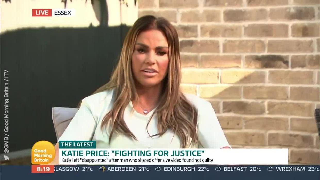 <p>Katie Price appeared on Good Morning Britain to discuss the recent court case against an online troll, saying it was 'such a shame' they lost. Price wants online bullying to be treated the same as in-person abuse, and wants a judge to recognise her fight on behalf of son Harvey.</p> <p>Credit: @GMB via Twitter / Good Morning Britain / ITV</p>