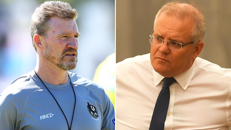 Collingwood coach Nathan Buckey has used Twitter to take what many have interpreted as a shot at Prime Minister Scott Morrison's leadership through the bushfire disaster. Pictures: Getty Images