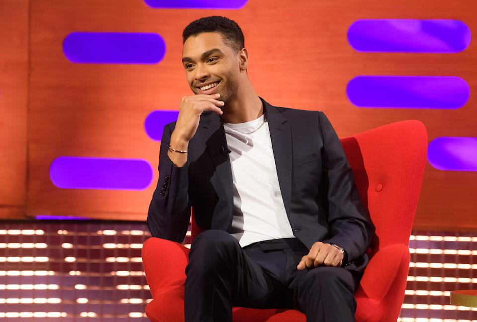 EDITORIAL USE ONLY Rege-Jean Page during filming for the Graham Norton Show at BBC Studioworks 6 Television Centre, Wood Lane, London, to be aired on BBC One on Friday evening. Picture date: Thursday February 4, 2021.