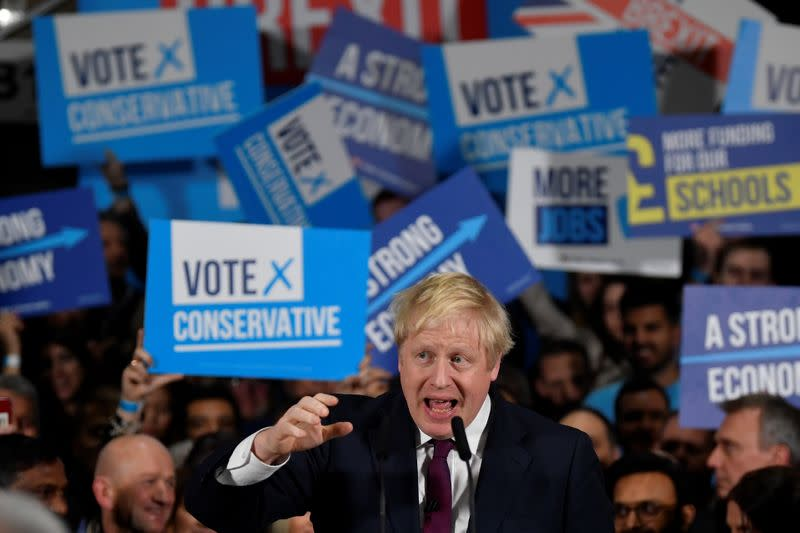 UK's Johnson now less certain of election victory: YouGov