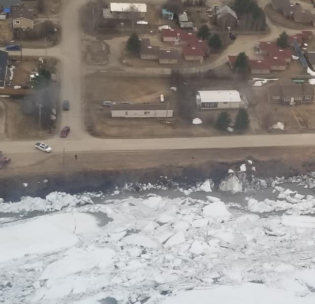 An aerial view of the Mackenzie Rive breakup at Fort Simpson.