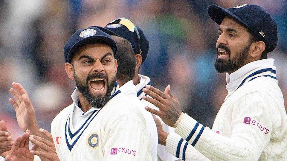 India captain Virat Kohli is seen here reacting with delight after his side takes an England wicket.