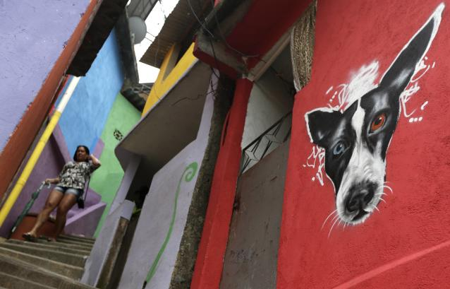 "A woman walks along ""Graffitti Way"" at Prazeres slum in Rio de Janeiro March 24, 2014. Sponsored by the French oil and gas company Total SA, about 50 houses were painted by graffiti artists all the way to the top of the community, local media said. REUTERS/Ricardo Moraes (BRAZIL - Tags: SOCIETY TPX IMAGES OF THE DAY)"