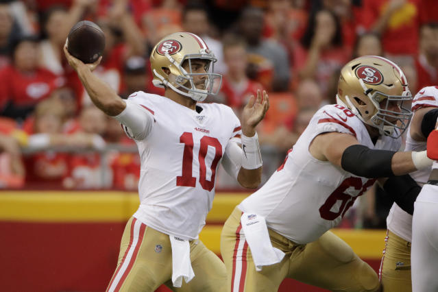 San Francisco 49ers quarterback Jimmy Garoppolo (10) throws a pass during the first half of an NFL preseason game against the Kansas City Chiefs. (AP)