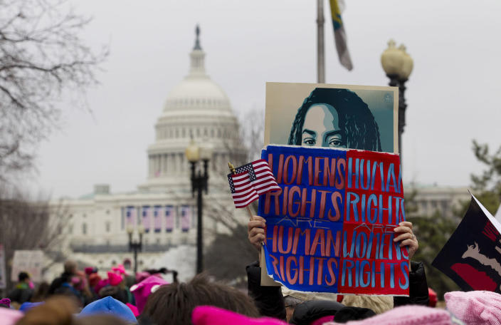 <p>Women rally at Capitol Hill as they make their voices heard on the first full day of Donald Trump's presidency, Saturday, Jan. 21, 2017, in Washington. (AP Photo/Jose Luis Magana) </p>