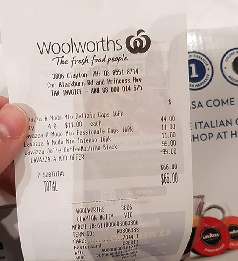Woolworths receipt for free coffee machine