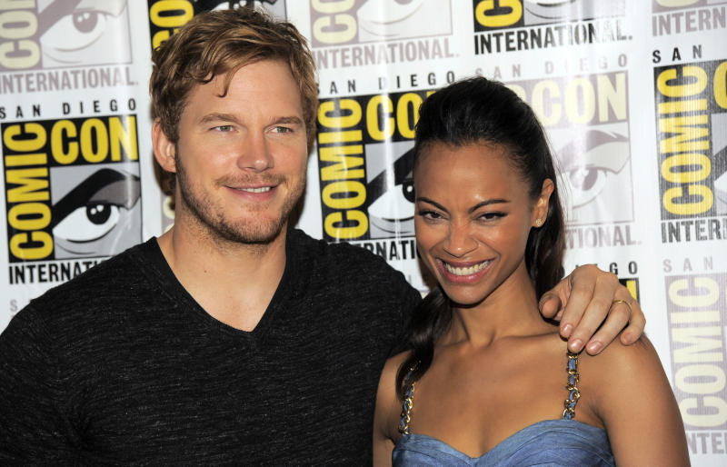 Chris Pratt, left, and Zoe Saldana pose at the panel for their film Guardians of the Galaxy on Day 4 of Comic-Con International, Saturday, July 20, 2013, in San Diego. (Photo by Chris Pizzello/Invision/AP)