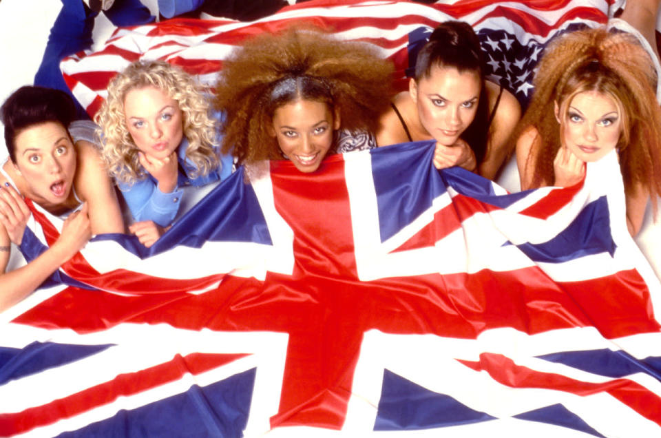 """<p>This British girl group has sold more than 80 million records worldwide, making it the biggest British pop phenomenon since The Beatles. The members are oftentimes credited for making """"girl power"""" a vernacular phrase in the mid-1990s — Gerri Halliwell's infamous Union Jack dress, for example, has become synonymous with the idea of """"girl power."""" Each performer had a nickname, like Sporty Spice or Ginger Spice, which young girls identified with. While they've since gone their separate ways, with Victoria Beckham becoming a fashion powerhouse, they've reunited for comeback tours and the 2012 London Olympics. <i>(Source: Getty Images)</i></p>"""