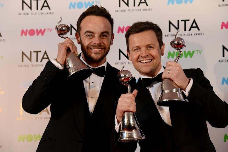 LONDON, ENGLAND - JANUARY 23: Ant & Dec with the The Bruce Forsyth Entertainment Award and TV Presenter Award at the National Television Awards 2018 at The O2 Arena on January 23, 2018 in London, England. (Photo by Dave J Hogan/Dave J Hogan/Getty Images)