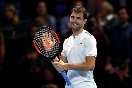 Tennis - ATP World Tour Finals - The O2 Arena, London, Britain - November 13, 2017 Bulgaria's Grigor Dimitrov celebrates winning his group stage match against Austria's Dominic Thiem Action Images via Reuters/Tony O'Brien