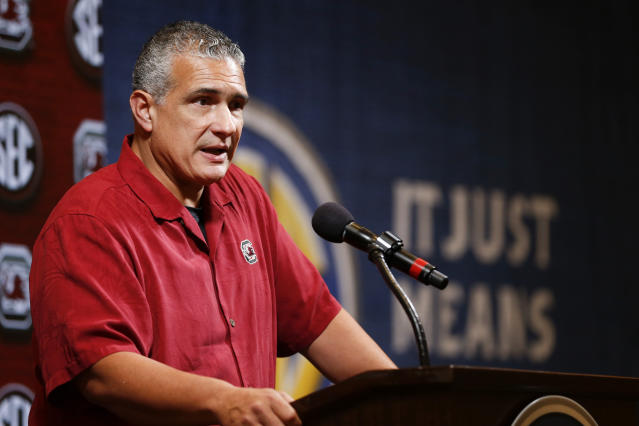 South Carolina head coach Frank Martin speaks during the Southeastern Conference NCAA college basketball media day, Wednesday, Oct. 16, 2019, in Birmingham, Ala. (AP Photo/Butch Dill)