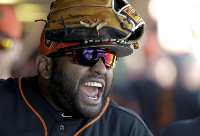 Pablo Sandoval's surprise pitching debut was the Giants gift to the baseball world. (AP)