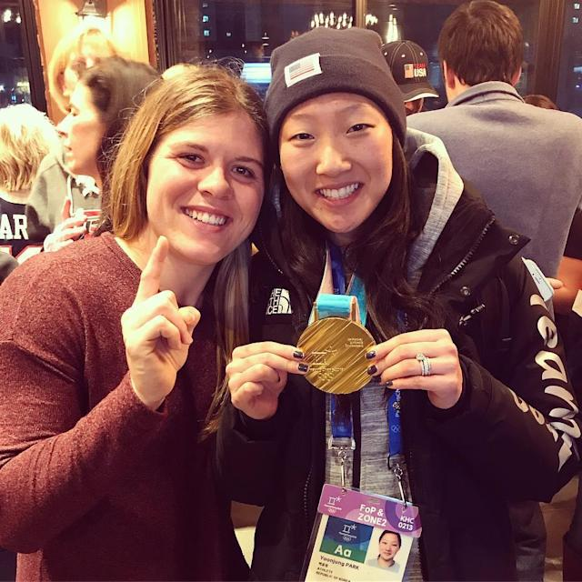 <p>marissacbrandt: What's yours is mine right @hannahbrandt22?? Gold medal ✔️ so proud of my sister and #teamusa! What a game! <br> (Photo via Instagram/marissacbrandt) </p>