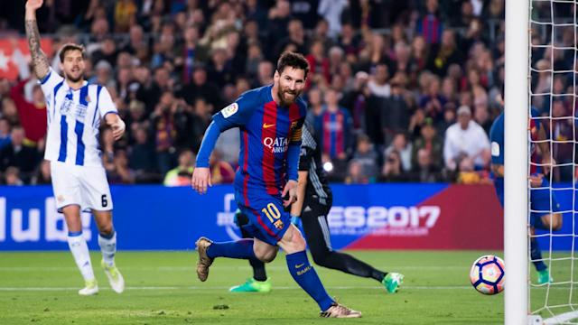 Barcelona recorded a hard-fought 3-2 win over Real Sociedad after a stellar performance from Lionel Messi, who scored twice.