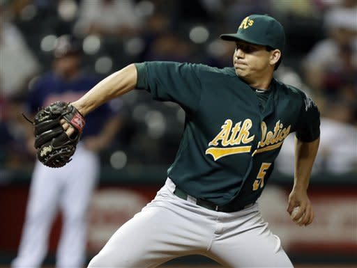 Oakland Athletics starting pitcher Tommy Milone pitches against the Cleveland Indians in the sixth inning of a baseball game Tuesday, Aug. 28, 2012, in Cleveland. Milone threw six shutout innings to get the win in the Athletics' 7-0 victory. (AP Photo/Mark Duncan)