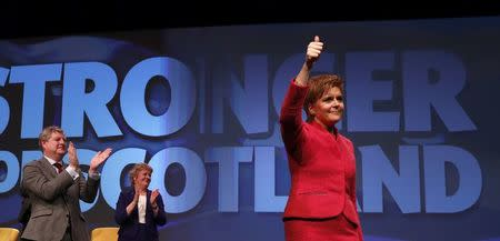 Party leader Nicola Sturgeon waves after speaking at the Scottish National Party's conference in Aberdeen, Scotland, Britain March 18, 2017. REUTERS/Russell Cheyne