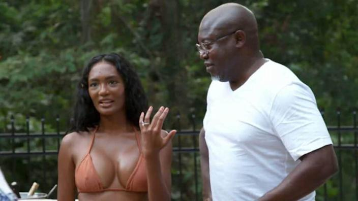 """A scene from a past episode of """"The Real Housewives of Atlanta"""" shows cast member Falynn Guobadia (left) and her then-husband, Simon (right). The latter is now engaged to """"RHOA"""" cast member Porsha Williams. (Bravo)"""
