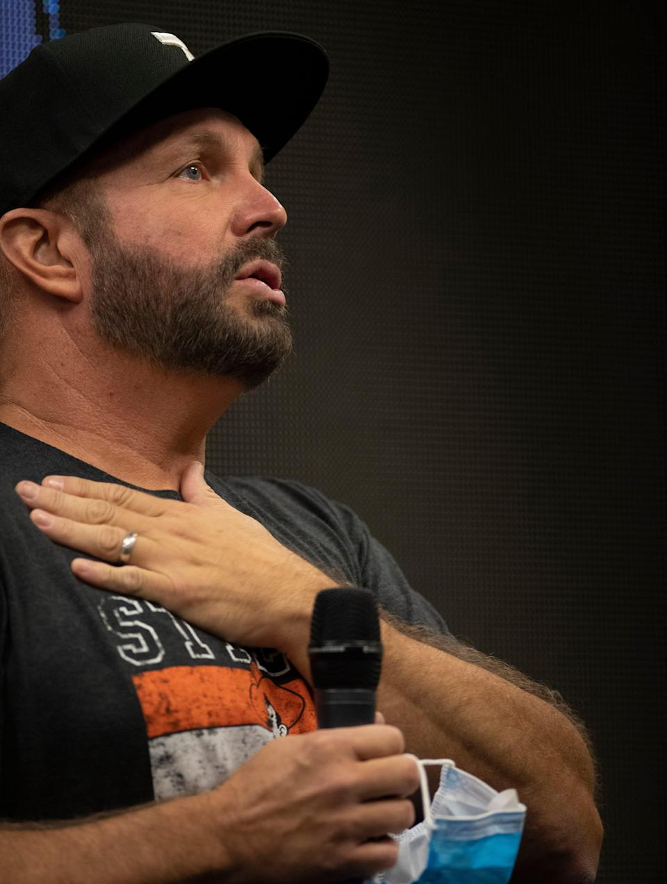 Garth Brooks holds a press conference ahead of his Saturday night concert at Nissan Stadium Friday, July 30, 2021 in Nashville, Tenn.