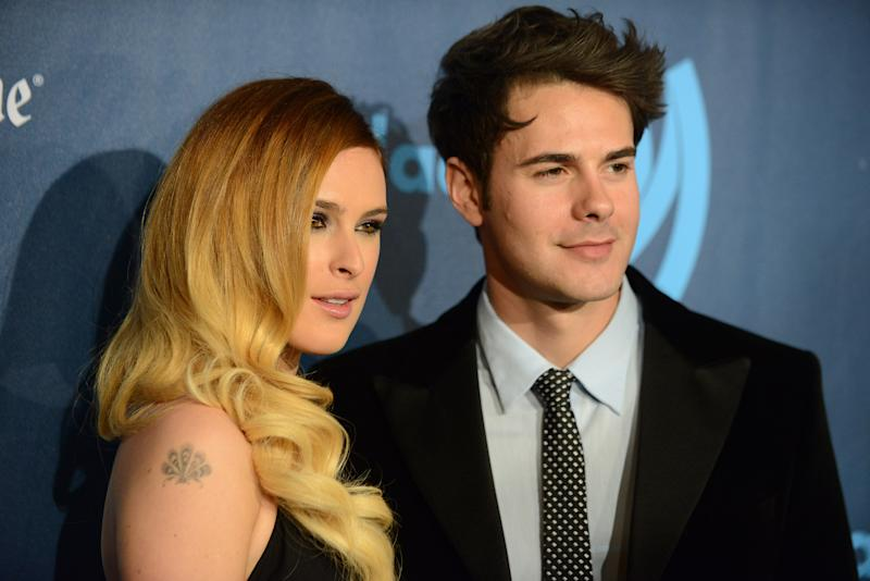 Rumor Willis, left, and Jayson Blair arrive at the 24th Annual GLAAD Media Awards at the JW Marriott on Saturday, April 20, 2013 in Los Angeles. (Photo by Jordan Strauss/Invision/AP)