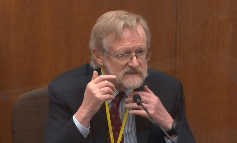 Dr. Martin Tobin, a respiratory expert, disputes defense arguments that George Floyd's death was a result of poor health and drug use in the trial of former Minneapolis police officer Derek Chauvin on April 8.