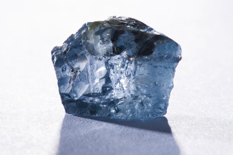 The exceptional 29.6 carat blue diamond recovered earlier this month is seen in this undated photograph received via Petra Diamonds in London