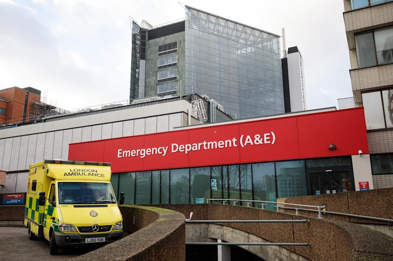 LONDON, ENGLAND - JANUARY 03: An ambulance sits outside the Accident and Emergency department of Guy's and St Thomas' Hospital on January 3, 2018 in London, England. Hospitals in the UK have been advised to postpone all non-urgent operations until the end of January as the NHS struggles to cope with the surge in patients over the winter period. (Photo by Jack Taylor/Getty Images)