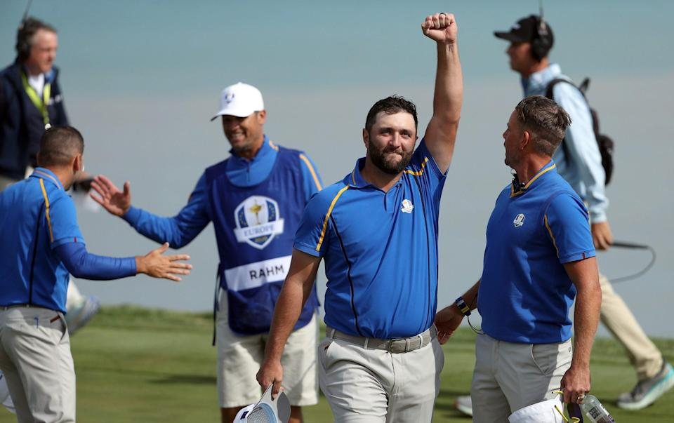 Rahm celebrates after the 3&1 victory - GETTY IMAGES