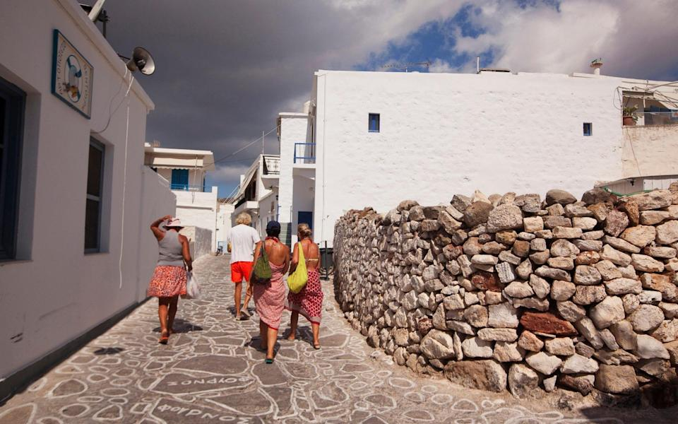 Tourists walking in the streets of the old town Chora - Alamy