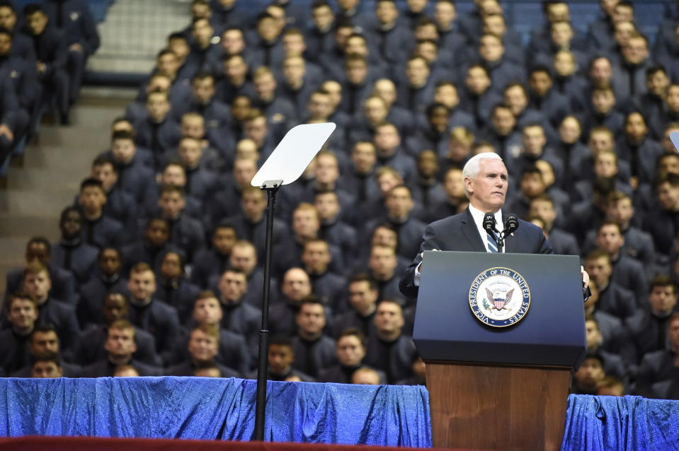 Vice President Mike Pence speaks to the Corps of Cadets at The Citadel on Thursday, Feb. 13, 2020, in Charleston, S.C. (AP Photo/Meg Kinnard).