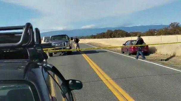 PHOTO: Cars are blocked on the road in northern California where several shootings have taken place, Nov. 14, 2017. (KHSL)