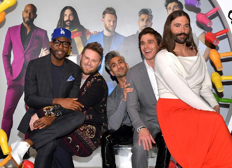 "Tan France, middle, promotes ""Queer Eye"" with co-stars, from left, Karamo Brown, Bobby Berk, Antoni Porowski and Jonathan Van Ness at a Netflix event on May 16 in Los Angeles. (Photo: Emma McIntyre/Getty Images for Netflix)"