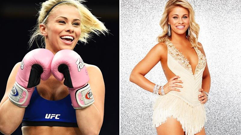 Pictured here, UFC fighter Paige VanZant and on the right as a Dancing with the Stars contestant.