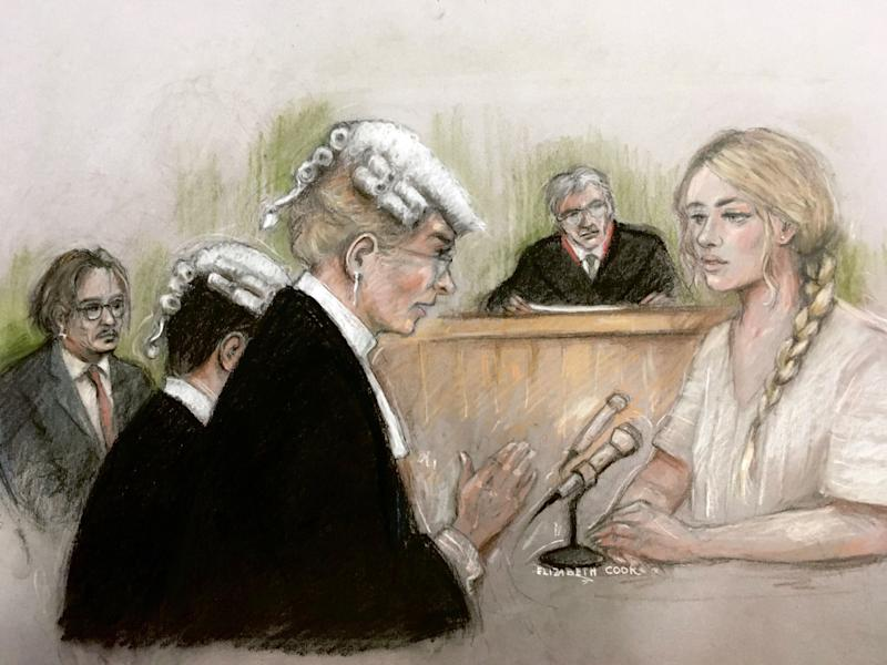 Court artist sketch by Elizabeth Cook of actress Amber Heard being questioned by Sasha Wass QC as she gives evidence at the High Court in London during a hearing in Johnny Depp's libel case against the publishers of The Sun and its executive editor, Dan Wootton.