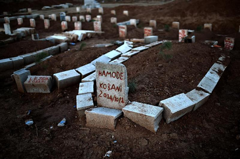 Graves of Kurdish people killed fighting alongside People's Protection Units against Islamic State jihadists for the control of the mainly-Kurdish Syrian key town of Kobane, Sanliurfa province, on October 15, 2014