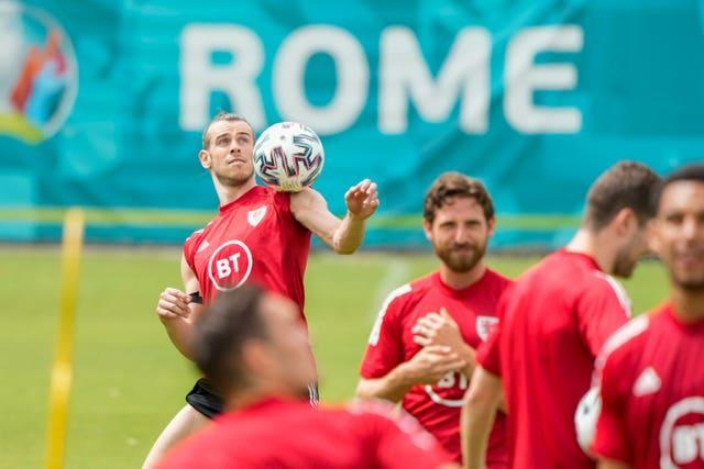 Wales' Gareth Bale (top left) controls the ball during a team training session in Rome