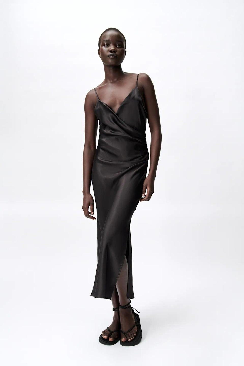 <p>You can't go wrong with this <span>Zara Draped Lingere-Style Dress</span> ($50).</p>