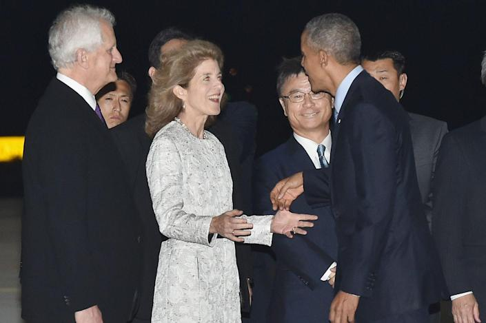 <p>President Barack Obama is welcomed by U.S. Ambassador Caroline Kennedy and her husband Ed Schlossberg upon arrival at the Chubu Centrair International Airport on May 25, 2016 in Nagoya, Japan.</p>