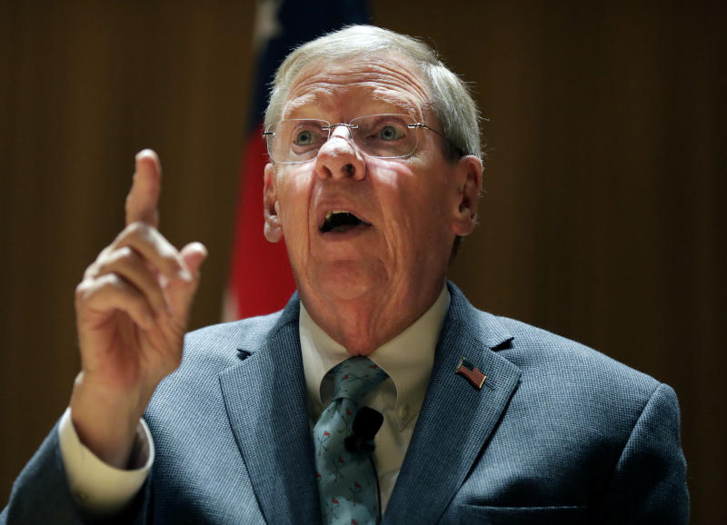 FILE - In this Aug. 14, 2017, file photo, Sen. Johnny Isakson, R-Ga. speaks during a town hall meeting at Kennesaw State University in, Kennesaw, Ga. op Republicans are already coping with a razor-thin majority as they try pushing a contentious and partisan agenda through the Senate. Now, they're running smack into another complicating factor _ the sheer age and health issues of some senators. (AP Photo/David Goldman, File)