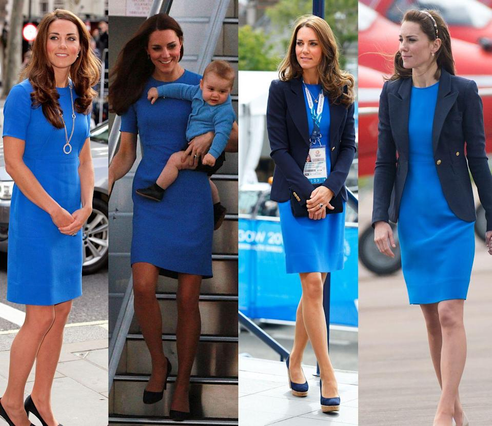 <p>The Duchess of Cambridge has worn this bright blue Stella McCartney short sleeve sheath four times: first in July 2012, then in April and July of 2014 and again in July 2016. </p>