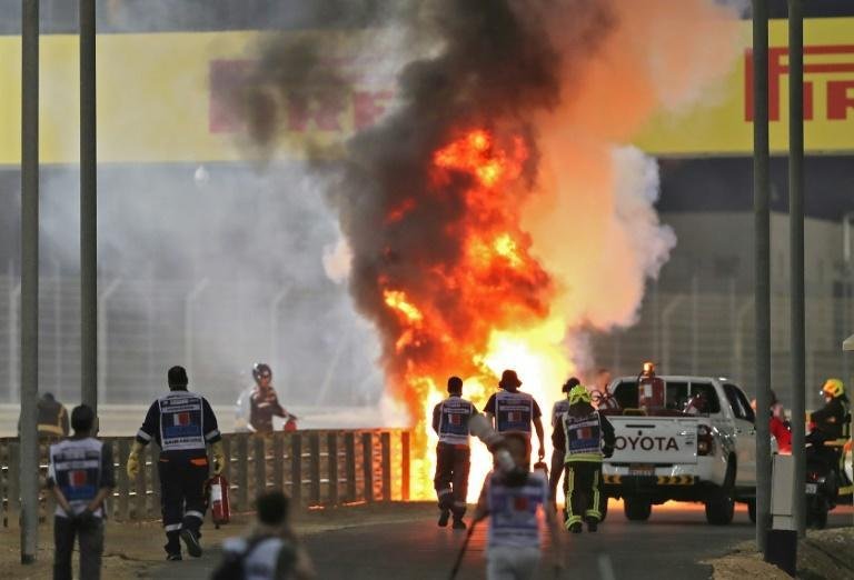 Romain Grosjean escaped from a fireball crash at the Bahrain Grand Prix at the end of November